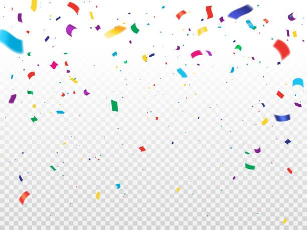 stockillustraties, clipart, cartoons en iconen met de achtergrond van de vakantie met vliegende confetti - confetti