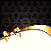 The vector illustration contains the image of gift card with gold bow. Also includes high-res JPEG files.