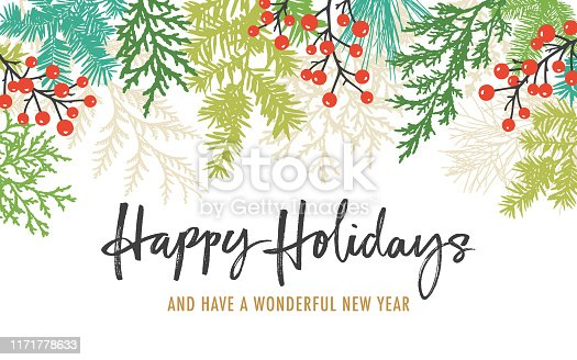 Modern Christmas, holiday background with pine tree branches, berries, fir needles and hand written greetings. Copy space. Frame,border composition.
