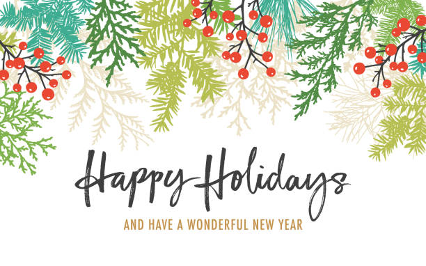holiday background with greetings - holiday season stock illustrations