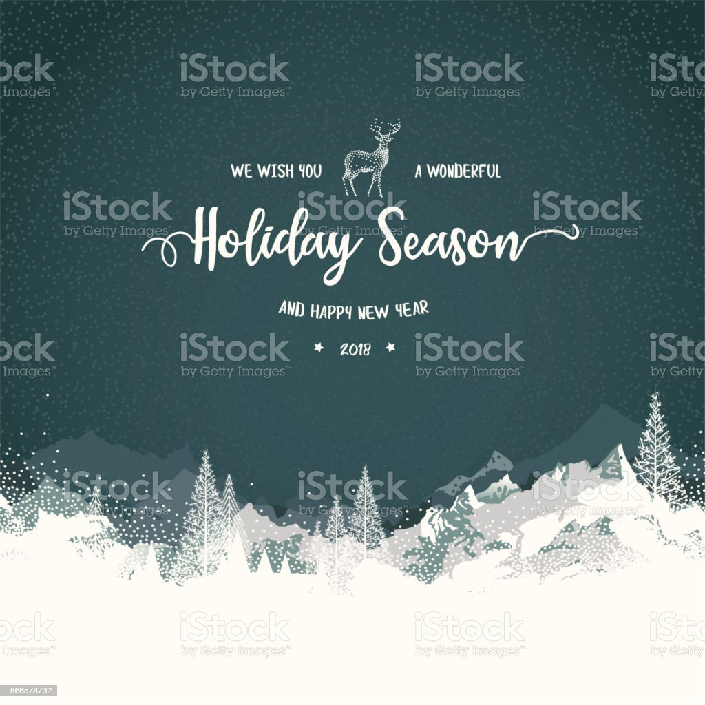 Holiday Background with Mountains vector art illustration