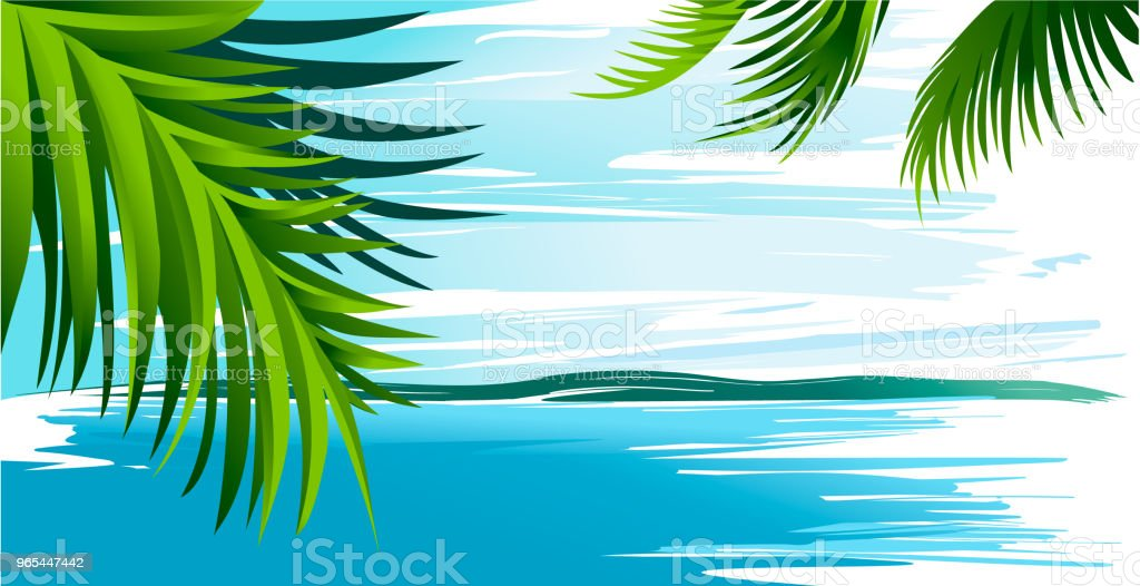 Holiday background with  ocean and palm leaves royalty-free holiday background with ocean and palm leaves stock vector art & more images of art