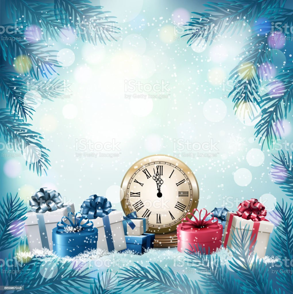 Holiday Background With Presents Vector Stock Vector Art