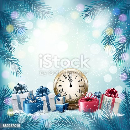 istock Holiday background with presents. Vector. 865987046