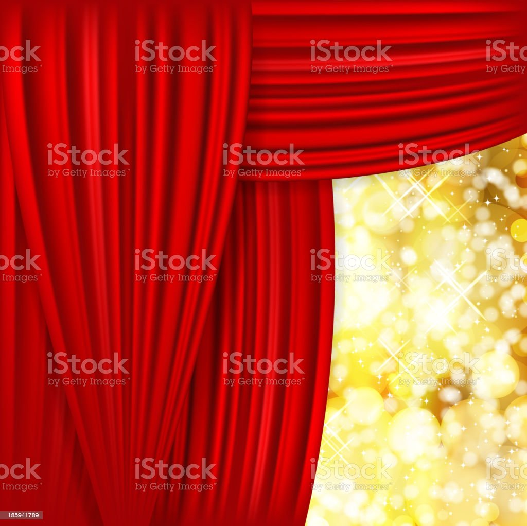 Holiday background with red satin and blurred lights. royalty-free stock vector art