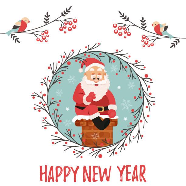 urlaub-hintergrund mit dem weihnachtsmann schornstein hinunter - kaminverkleidungen stock-grafiken, -clipart, -cartoons und -symbole