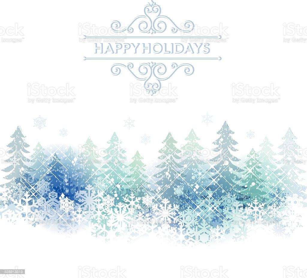 Holiday background with snow scenery vector art illustration