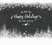 Holiday background with christmas trees,reindeer and snowflakes. Black and white illustration. File is layered and global colors used.