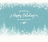 Holiday background with christmas trees,reindeer and snowflakes. File is layered and global colors used.