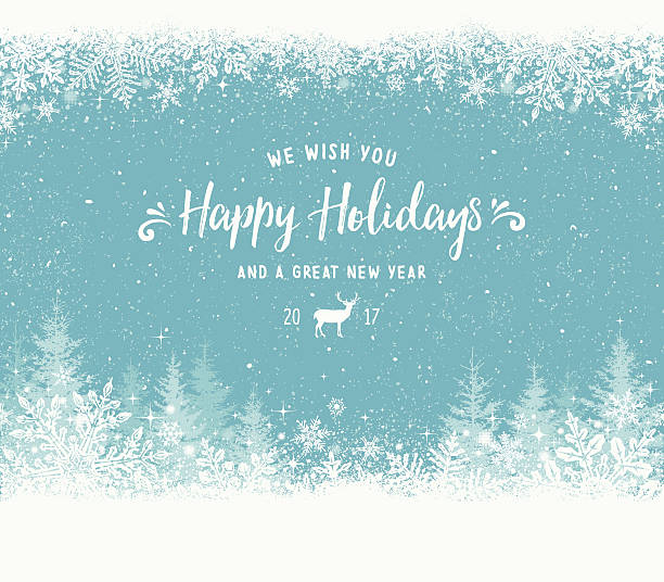 holiday background with snowflake frame, christmas trees and reindeer - holiday stock illustrations, clip art, cartoons, & icons