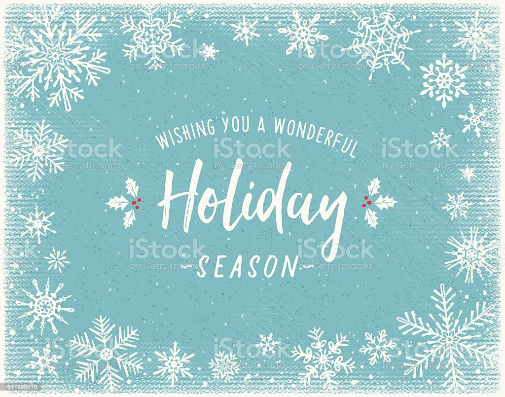 Holiday Background with Snowflake Frame vector art illustration