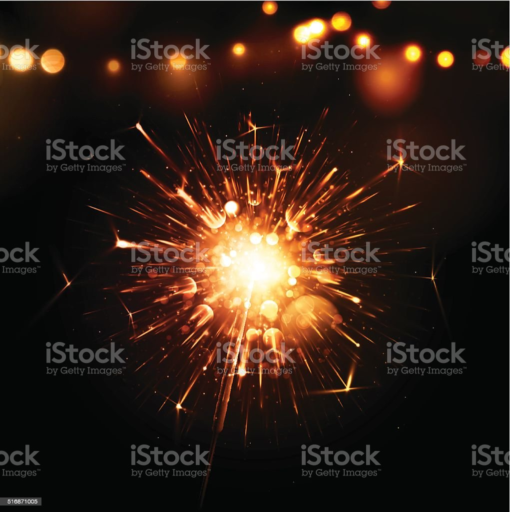Holiday Background with Sparkler vector art illustration