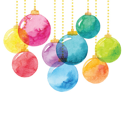 Holiday Background With Watercolor Christmas Balls