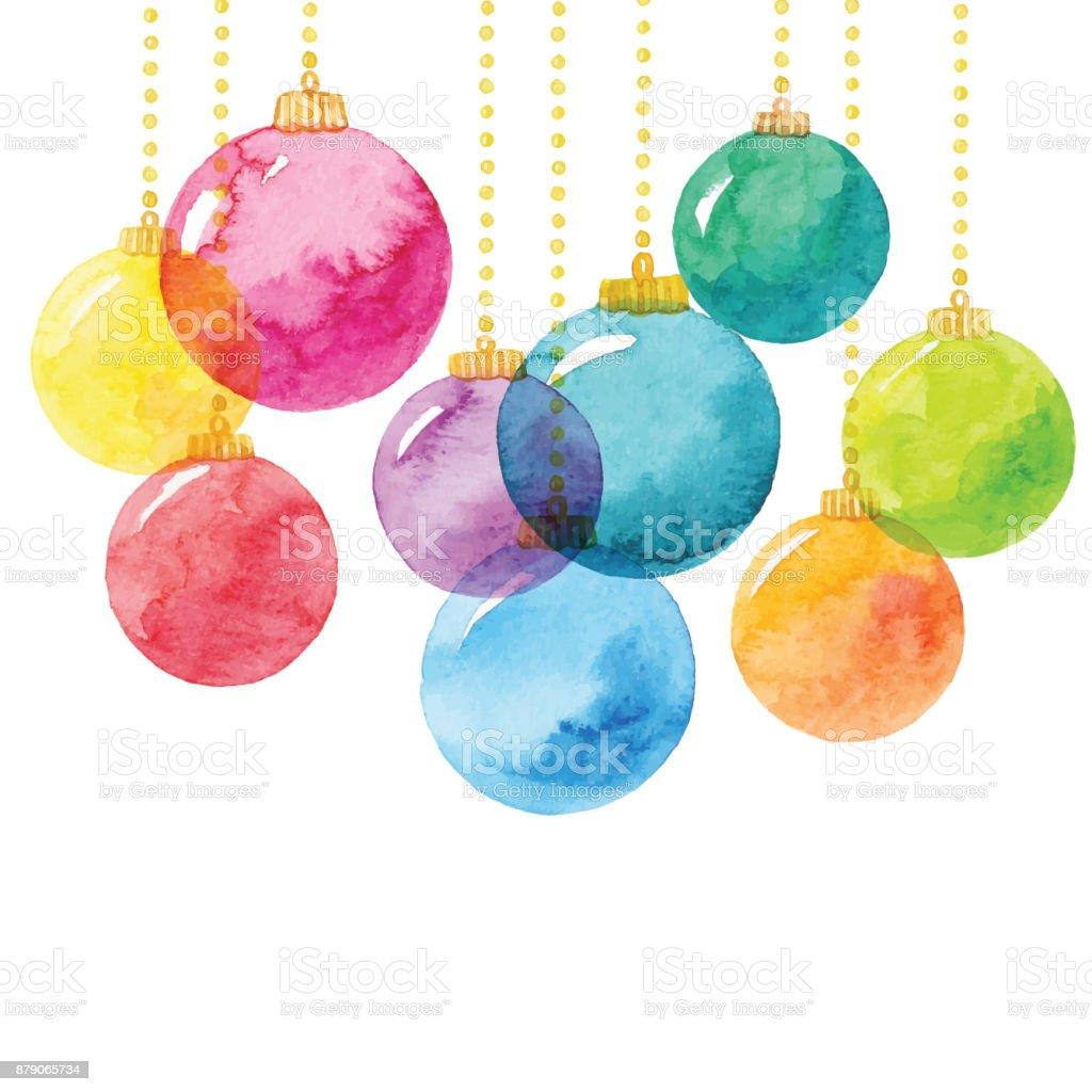 Urlaub-Hintergrund mit Aquarell Weihnachtskugeln – Vektorgrafik