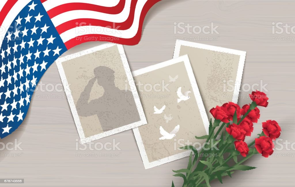 Holiday background with waving flag, photos and flowers. vector art illustration