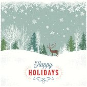 Holiday background with forest, snowflakes and reindeer. File is layered, global colors used.Hi res jpeg without text included.More like this linked bellow.