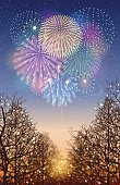 """This illustration is a background of """"Fireworks""""."""