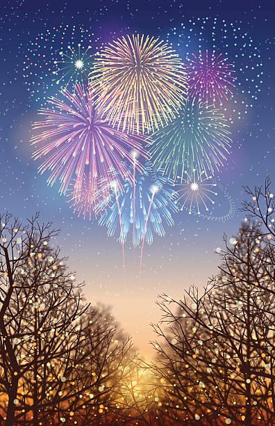 ilustrações, clipart, desenhos animados e ícones de fundo de férias [ ] iluminação e fogos de artifício - fireworks sky