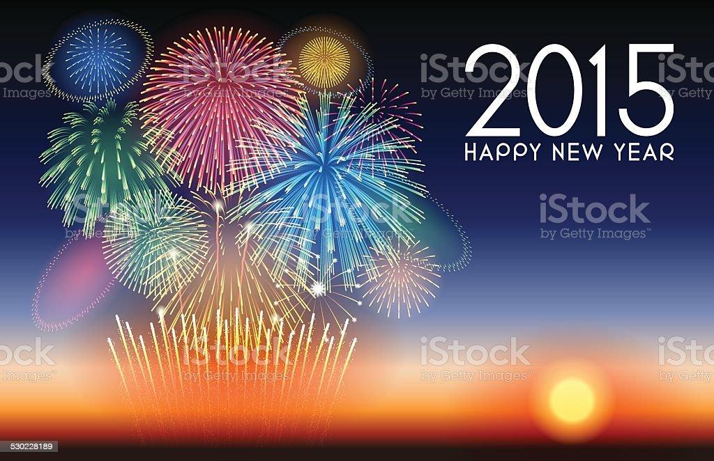 Urlaub Hintergrund [ neue Jahr mit Feuerwerk ] – Vektorgrafik