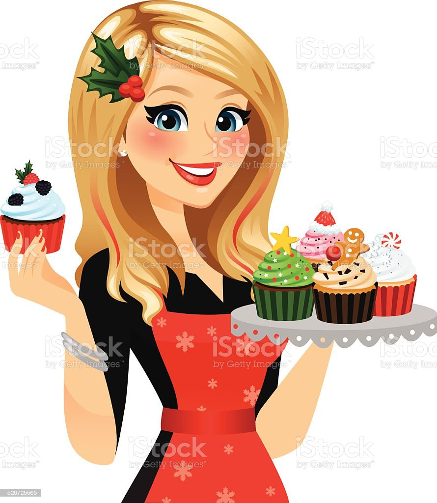 Holiday Baker Woman vector art illustration