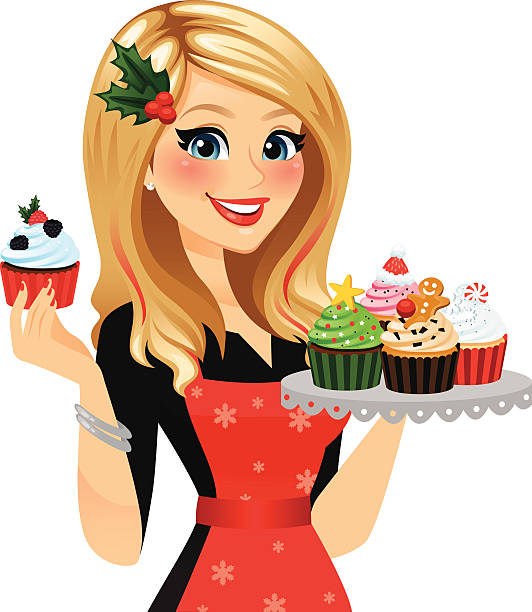 holiday baker woman - heyheydesigns stock illustrations