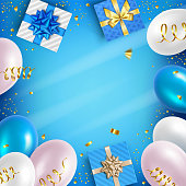 istock Holiday Balloons and Gifts Background 1323383893