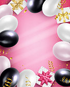 Holiday pink, white, black balloons and Gifts pink background. Vector illustration.