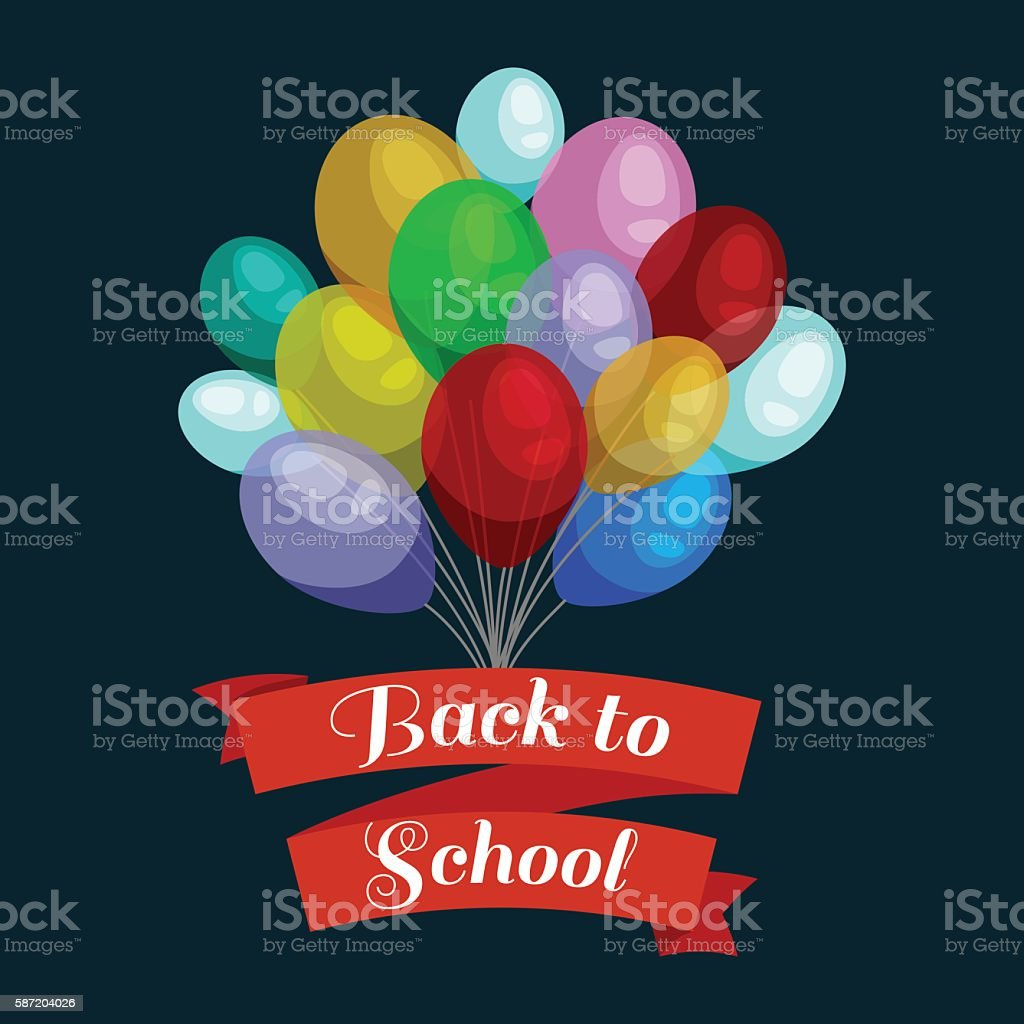 Holiday banners with colorful balloons. Back to school concept card vector art illustration