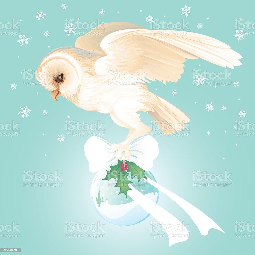 Holiday Barn Owl carrying snow globe, flying through winter sky.向量藝術插圖