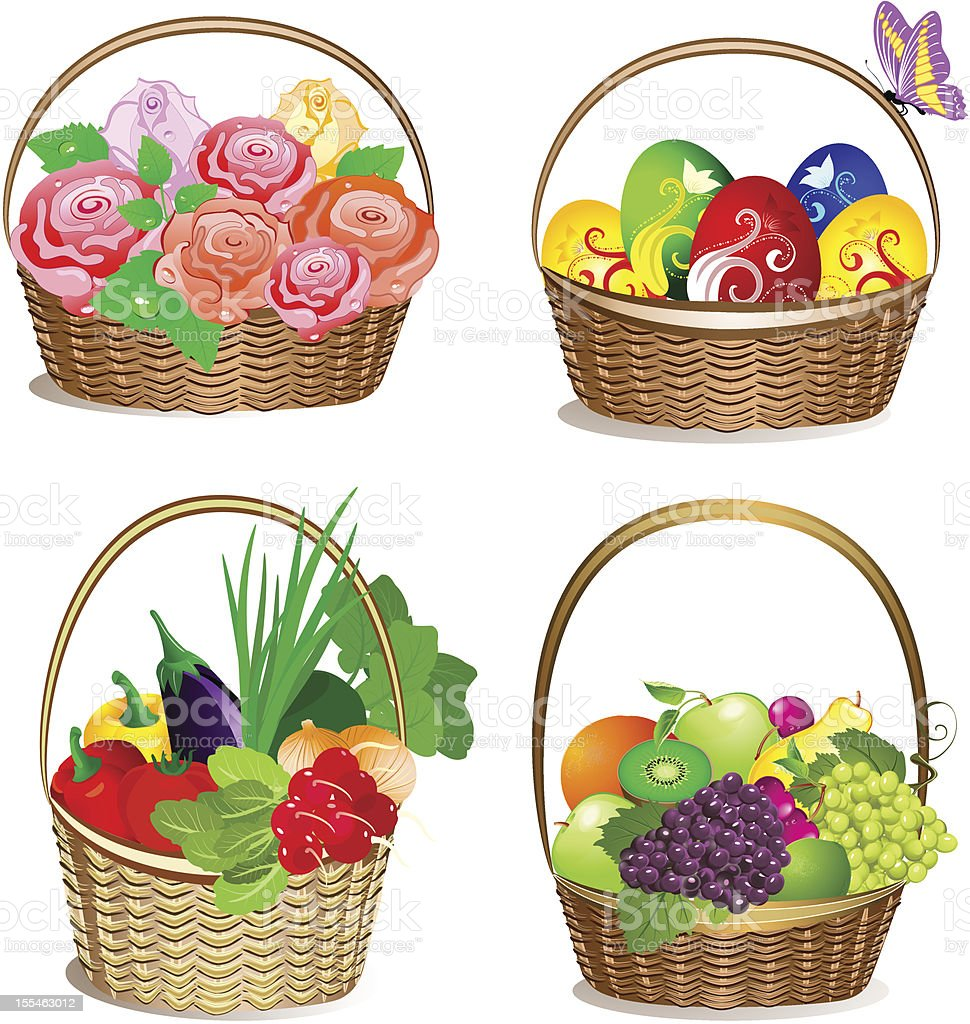 holiday baskets royalty-free stock vector art