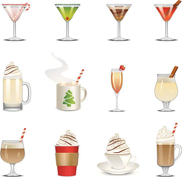 holiday getränke icons - weihnachtsschokolade stock-grafiken, -clipart, -cartoons und -symbole