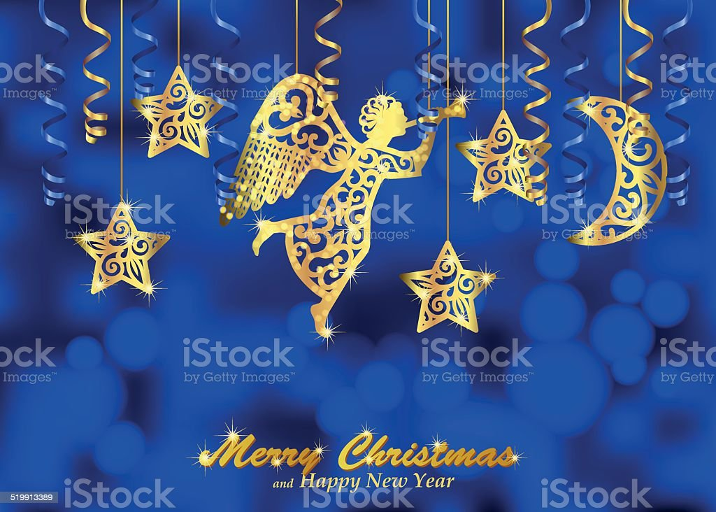 Holiday blue background with golden figures of angel, stars, moon