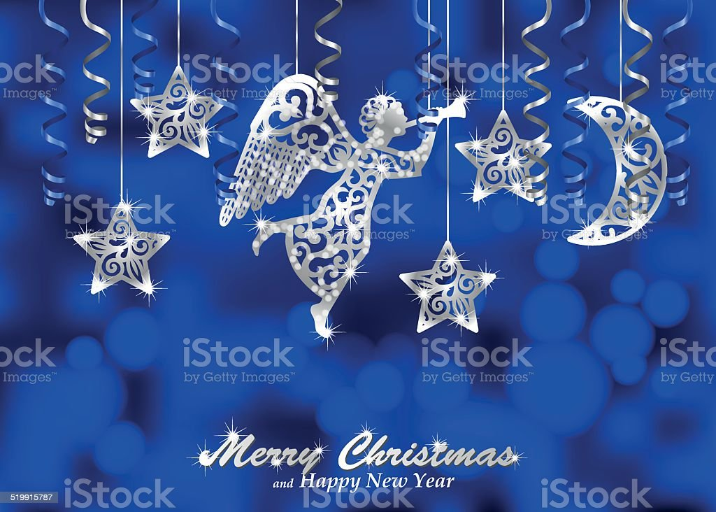 Holiday blue background with silver figures of angel, stars, moon