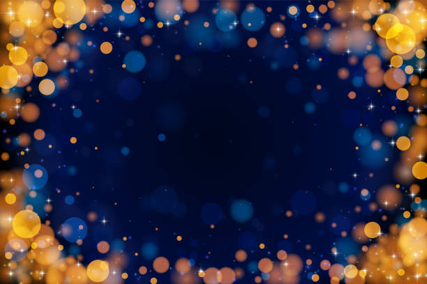 Holiday bokeh empty frame on dark background. Abstract vector bokeh vignette background. The eps file is organised into layers for the background, the bokeh, the lights and the stars. celebration event stock illustrations