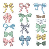 Holiday bows and ribbons in cartoon style. Vector pictures set. Color bow cartoon for gift and holiday decoration illustration