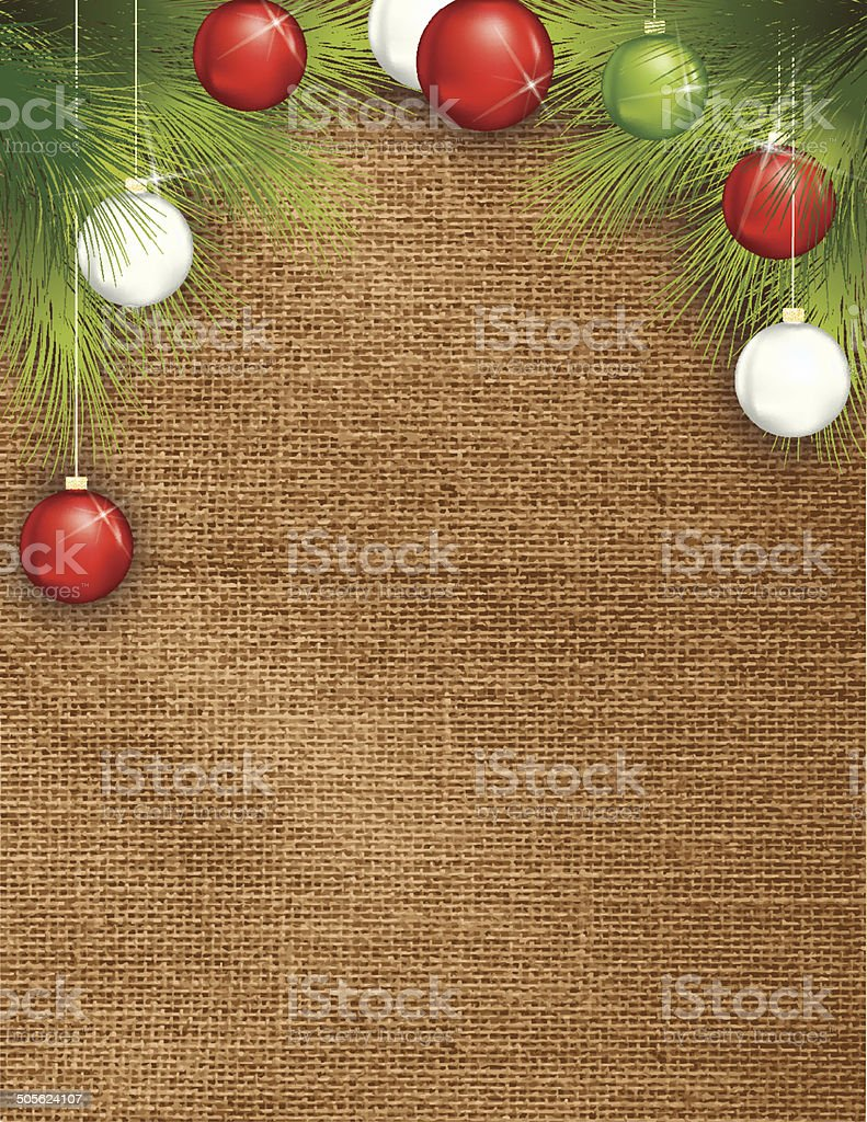 Holiday Burlap Background Template With Evergreens and ornaments vector art illustration