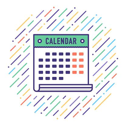 Holiday Calendar Flat Line Icon Illustration