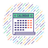 Flat line vector icon illustration of holiday calendar with abstract background.