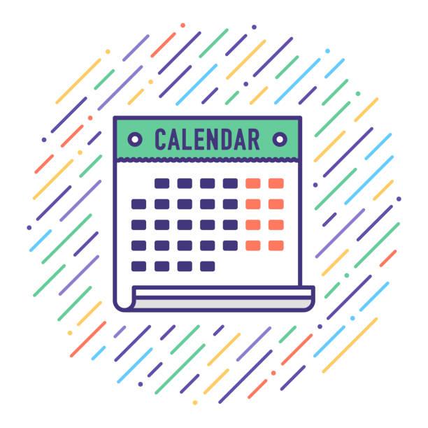 holiday calendar flat line icon illustration - calendar stock illustrations, clip art, cartoons, & icons