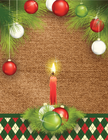 Holiday Candle Template With Evergreens and ornaments On Burlap