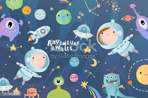 istock Holiday card design. Baby shower. Little astronauts, boy and girl,  floating around in open space, among stars, planets, funny monsters and comets. 1214423367