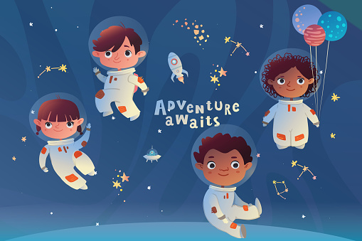 Holiday card design. Baby shower. Little astronauts floating around in open space, among stars, planets,  and comets.