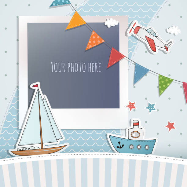Holiday card design. Holiday card design. baby boys stock illustrations