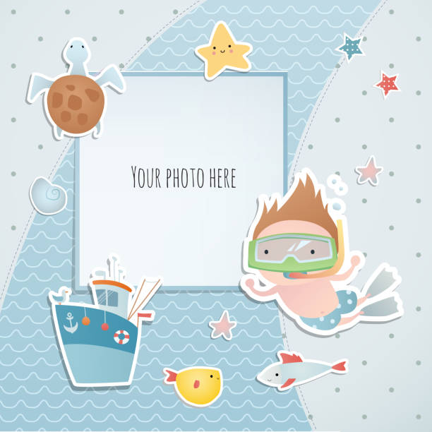 illustrazioni stock, clip art, cartoni animati e icone di tendenza di holiday card design with a diver, fish, turtle  and boat. summer time. paper, scrapbook. - immerse in the stars