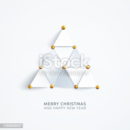 istock Holiday Card design with abstract composition composed of equilateral triangles pinned with golden pins to the white plain paper background - vector illustration with realistic shadow 3D effect and free places on your own wishes 1283908537