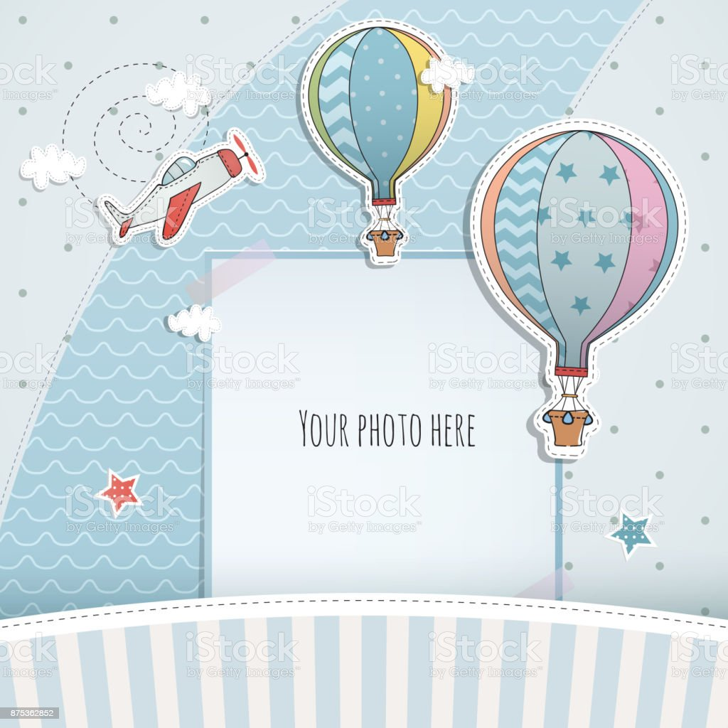 Holiday card design with ballloon and plane. Baby shower. Paper, scrapbook. vector art illustration