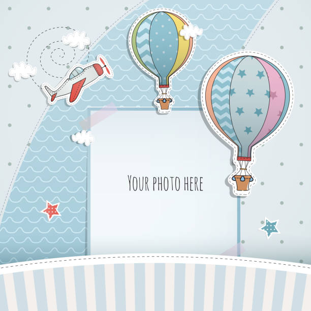 holiday card design with ballloon and plane. baby shower. paper, scrapbook. - chłopcy stock illustrations