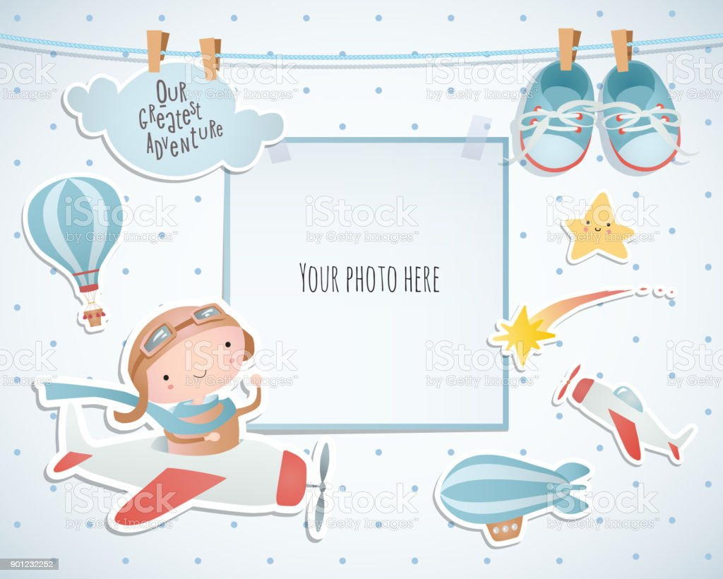 Vakantiewoningen kaart ontwerp met ballon en vliegtuig. Babydouche. Papier, scrapbook. - Royalty-free Aankondigingsbericht vectorkunst