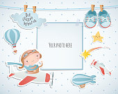 Holiday card design with balloon and plane. Baby shower. Paper, scrapbook.
