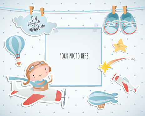 Vakantiewoningen Kaart Ontwerp Met Ballon En Vliegtuig Babydouche Papier Scrapbook Stockvectorkunst en meer beelden van Aankondigingsbericht